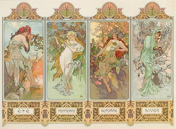 慕夏 - 四聯作系列.四季(Les quatre saisons)  1896年.jpg