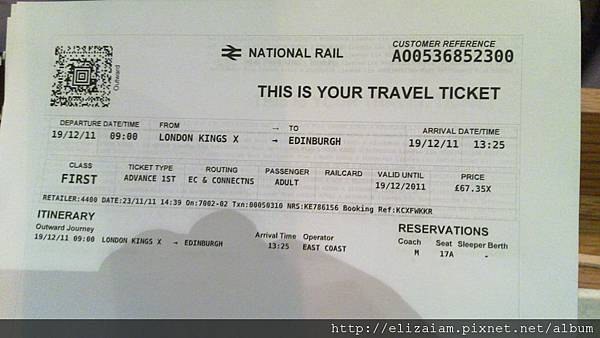 到愛丁堡的火車票!!!