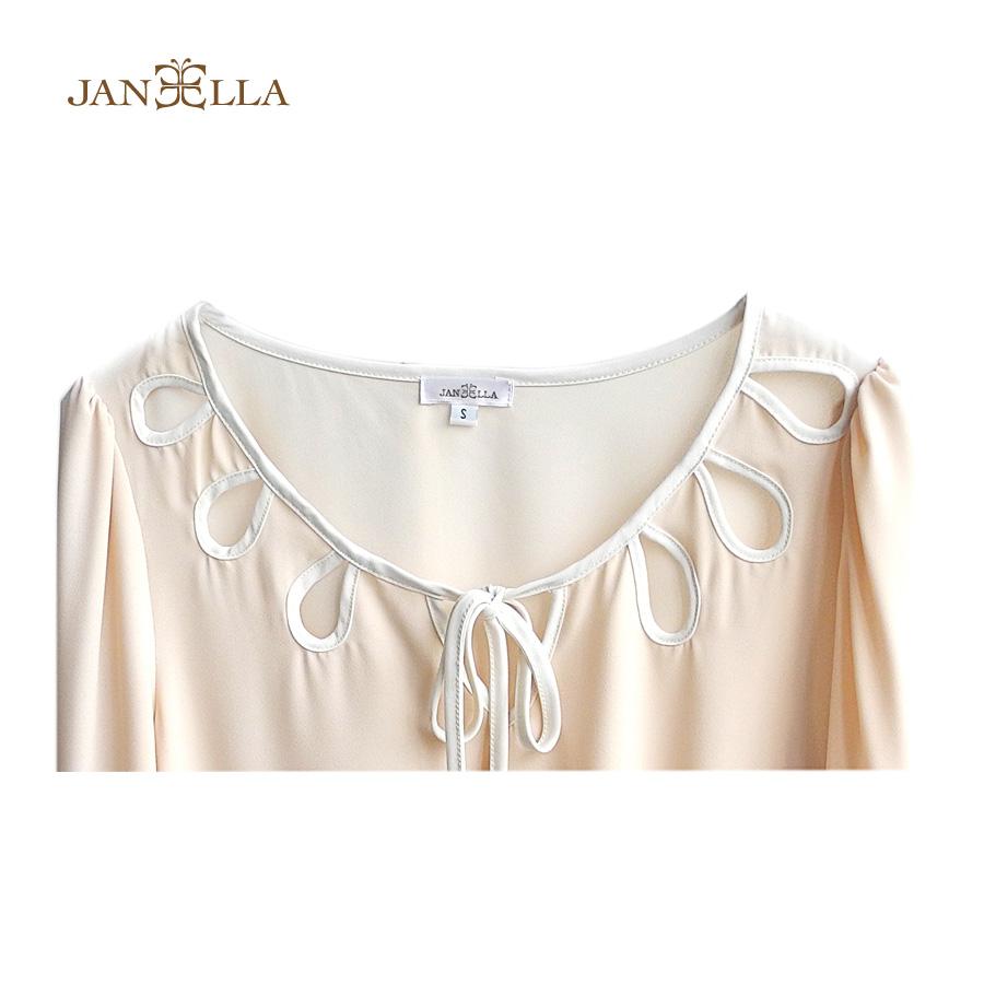 時尚秋裝肌透感立體花瓣簍空雪紡衫