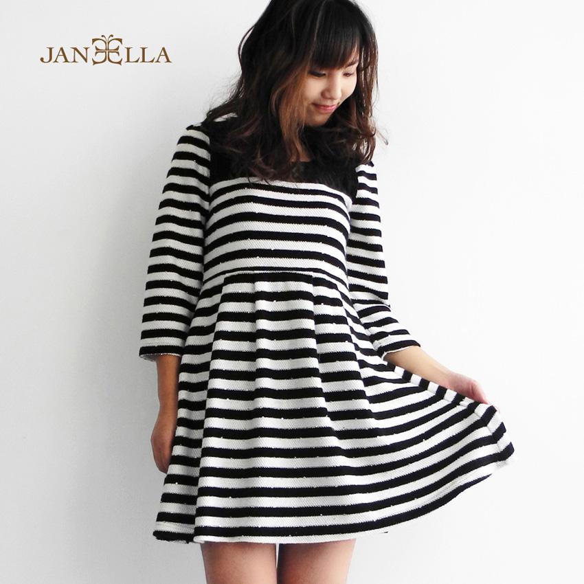 經典黑白條紋拼接蕾絲氣質洋裝-黑白條紋風