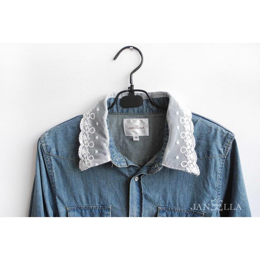 秋季限定款領口蕾絲百搭單寧襯衫