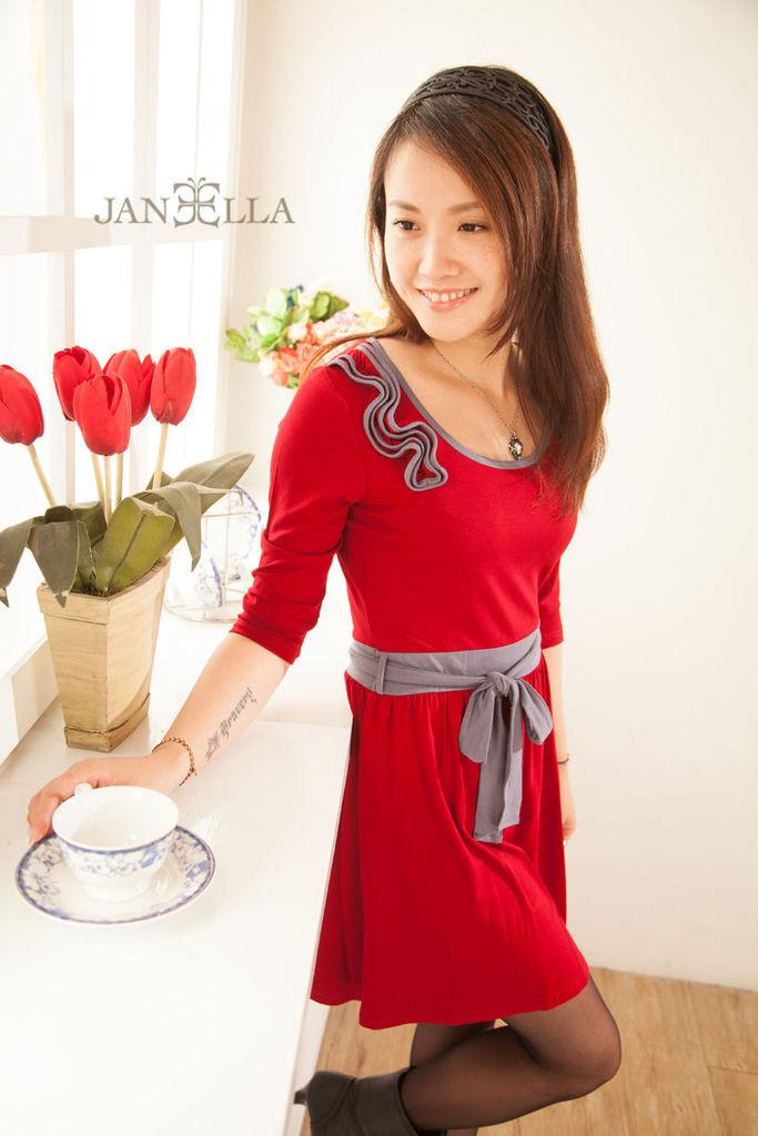 Piece洋裝修身甜美氣質設計款撞色 品牌介紹JANEELLA