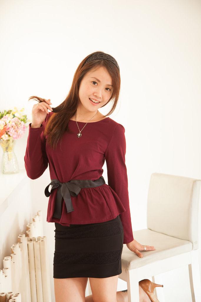 時尚圓領氣質顯瘦綁帶上衣 品牌分享JANEELLA
