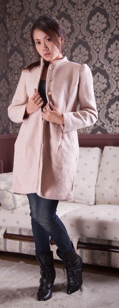 時尚.甜美歐美風立領經典花苞裙羊毛長大衣 品牌分享janeella