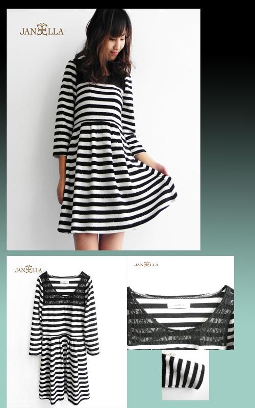 時尚低調黑白條紋小洋裝 JANEELLA婕拉?
