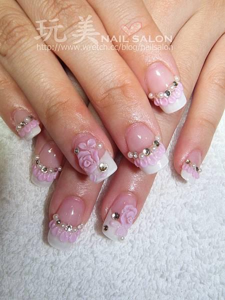 粉色蕾絲粉雕+排鑽