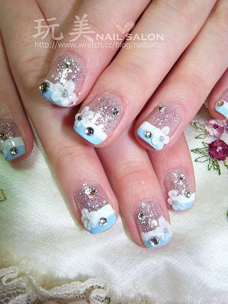 雙法式彩繪指甲+粉雕小花貼鑽