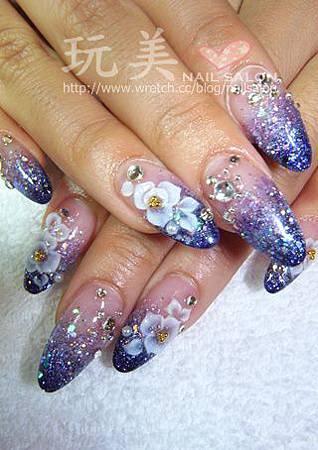 尖形水晶指甲+粉雕、配鑽