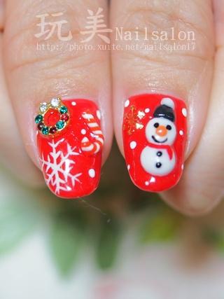 聖誕風凝膠指甲~立體粉雕雪人
