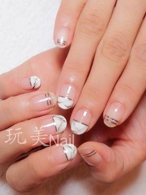 大理石紋凝膠指甲