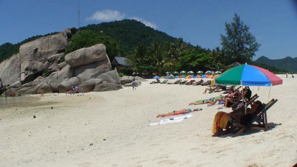 一整排沙灘洋傘