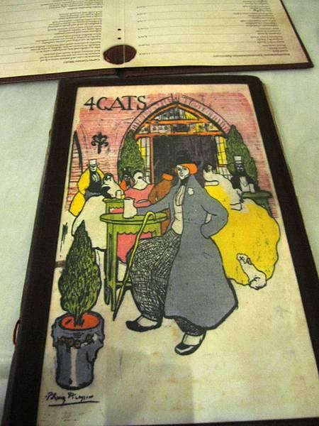 畢卡索幫 4 CATS 餐廳設計的 menu 封面