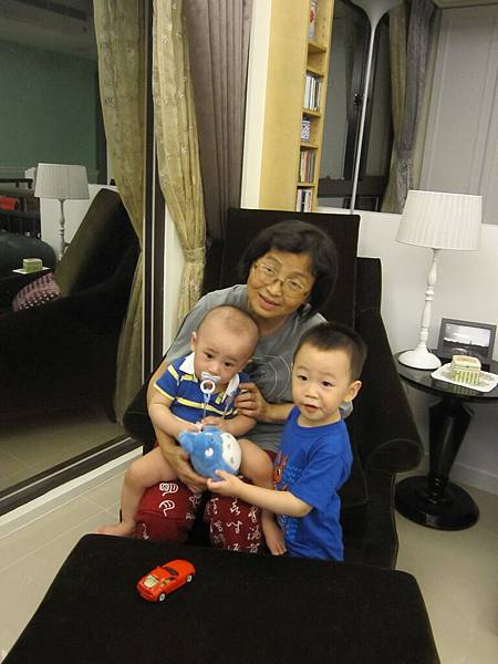 老媽開心和兩個孫子玩遊戲.JPG