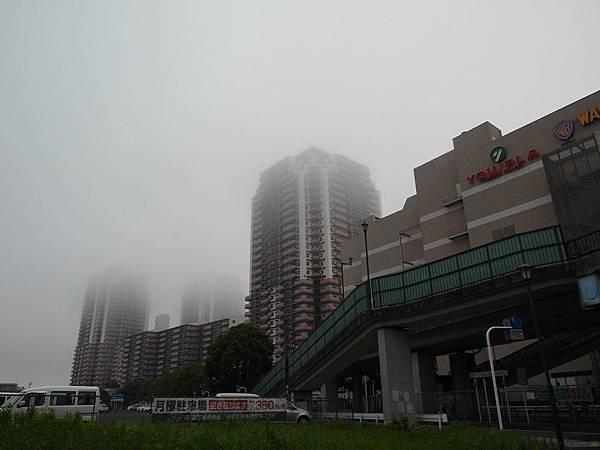 清晨五點半左右回到我家車站前,高層大樓都還浸在大霧中