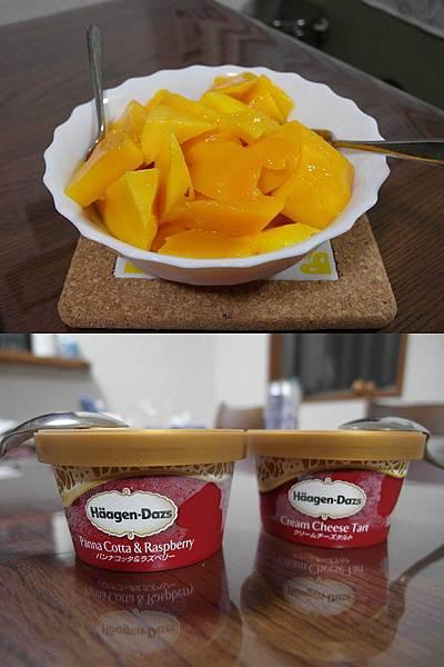 飯後追加從台灣帶來的芒果和哈根大司~♪