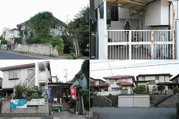 這區的房子較舊,左上是長滿爬藤的家/右上有劍道練習人偶/左下是陽氣婆婆家中自營的宮古島物產/右下的房子很有趣