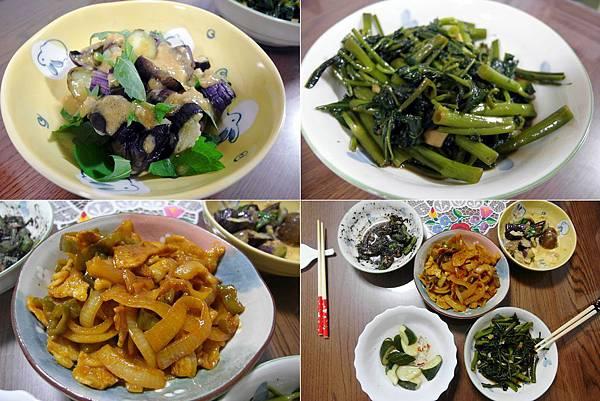 晚餐:清蒸茄子拌味噌醬/台式空心菜/咖哩豬肉蔬菜,今天做的都超級好吃!!!(他說的不是我自誇的喔~)