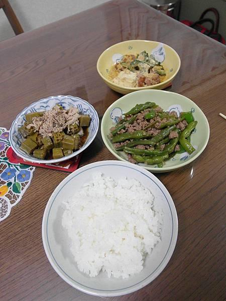 晚餐:四季豆炒肉末/醬汁煮老秋葵配鮪魚,煮很久纖維還是硬到爆/苦瓜剩菜