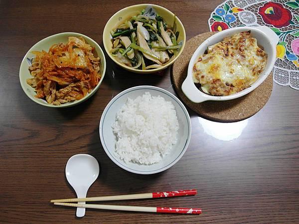 晚餐:泡菜豬肉/小松菜炒杏鮑菇/焗茄子