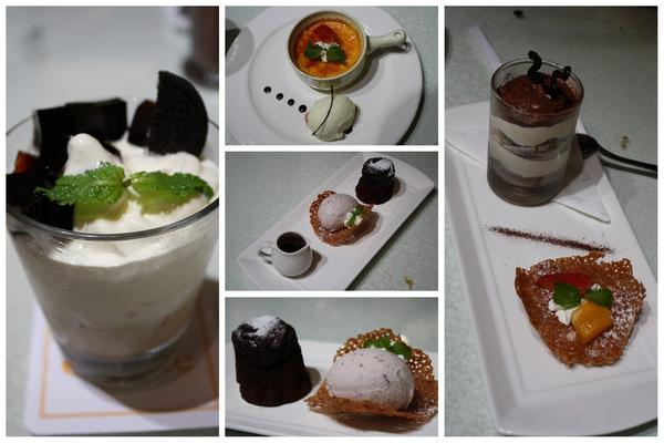 咖啡奶霜聖代杯、法式香草焦糖布蕾、巧克力蛋糕、提拉米蘇