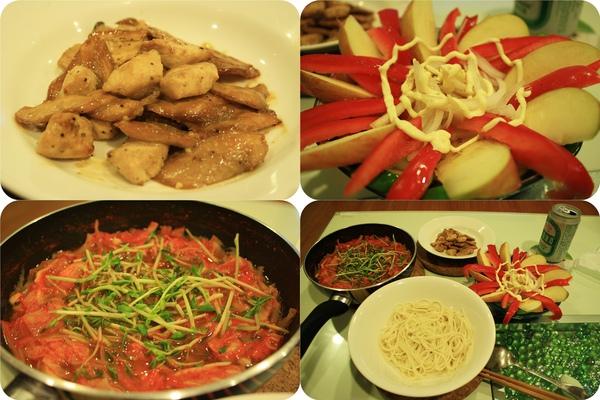 晚餐也是自炊喔;杏鮑菇炒雞丁、蔬果沙拉、泡菜湯,將泡菜湯舀進關廟麵裡就完成了!