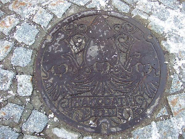 發現烏賊圖案的污水蓋