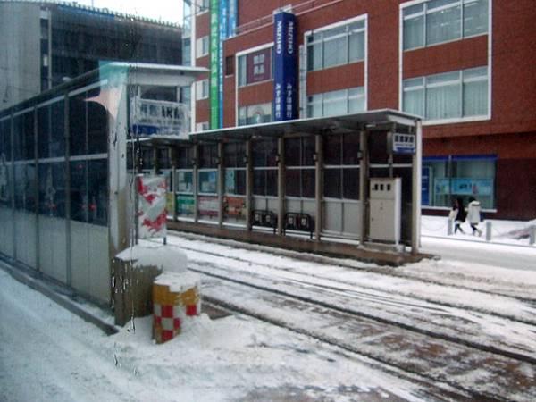 路中央的路面電車月台