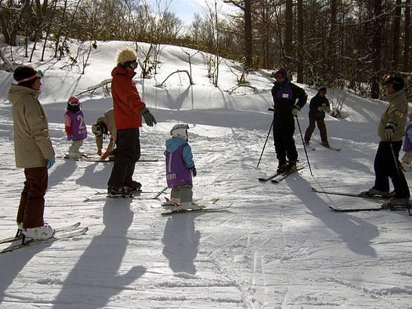 下來看到一群大人竟然在教三四歲的小朋友滑雪,很可愛的畫面