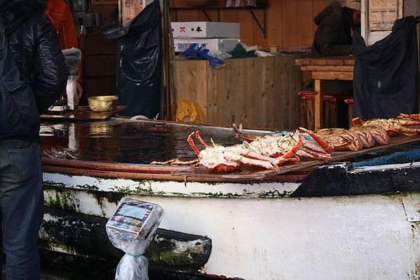 函館朝市是小型漁市場~但普通的魚較少,幾乎都賣螃蟹干貝鮭魚等