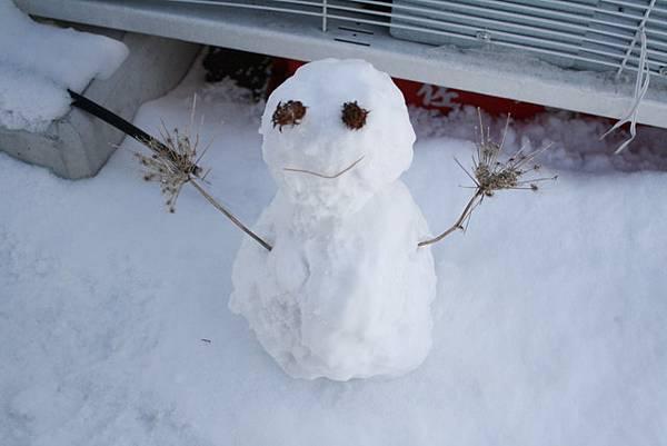 雪人的身體做到一半就變形了~但還是很可愛!