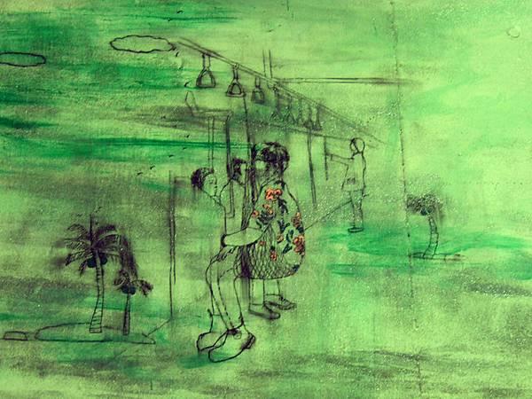 某張畫作的一小角,有位熱愛南島的男人用自己的方式搭電車