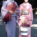 今天很多女生穿和服來明治神宮,我們猜她們是某和服學校結業式