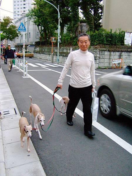離開商店區,在住有外交官的住宅區巧遇養了三隻稀奇狗兒的歐吉桑