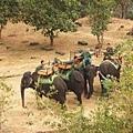 停在東邊的象群和象伕們,旁邊還可以看到一些損毀的石塊遺跡
