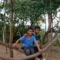 坐在樹根上玩盪秋千的柬國小朋友