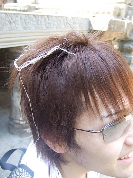 現世報未免太快,Ryo的頭髮立刻被一層蜘蛛絲網纏到