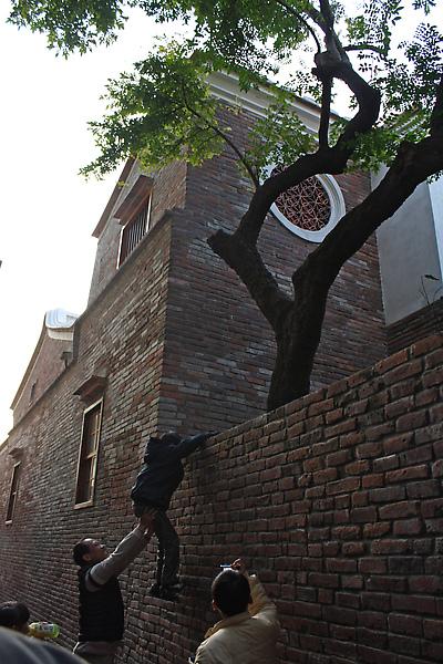可怕的大人竟然要讓小孩爬上這麼高的牆!!!!