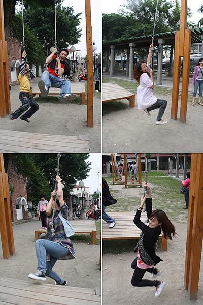 軍史公園前有這個盪盪繩,看小朋友玩得很開心於是我們也來挑戰