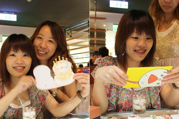 卡片時間~拼克送的是老招的蛋糕卡片, 我的是很可愛的村上隆筆下的明信片,過洋水的喔~小妞要好好保存吶!!!