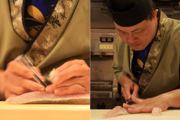師傅不急不徐地用夾子將生魚肉裡的刺給拔出來,再勻等切成數塊放一旁備用