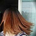 後面也剪得很順~看我的頭髮兒飛得多輕快呀!!!但布丁頭也超明顯的~T_T