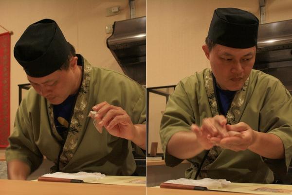 看師傅左手輕握白帶魚肉,右手抓醋飯,最後再熟練地捏個幾下~