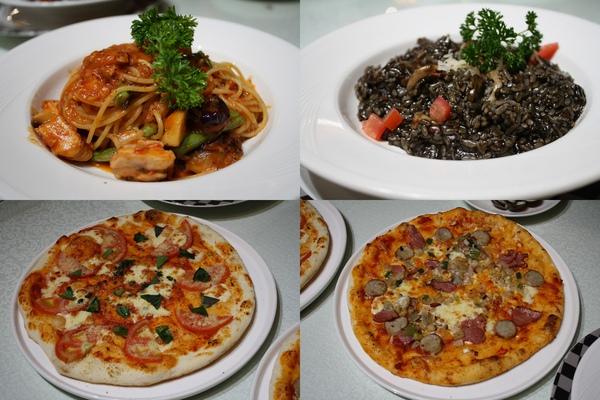 辣味雞肉義大利麵、烏賊墨燉飯、瑪格麗特比薩、總匯比薩