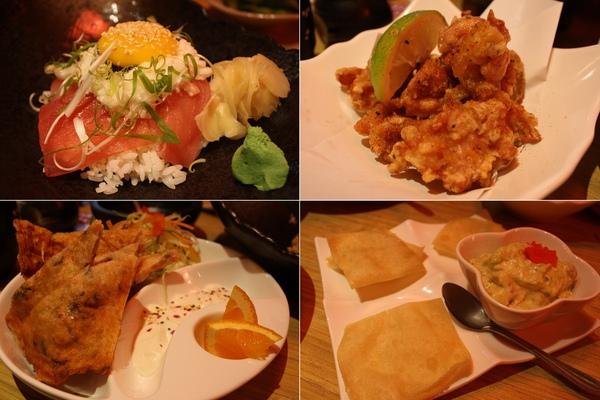 鮪魚山藥丼、日式炸雞、明太子XX煎餅(?)、酪梨蟹肉沙拉(配炸過的餛飩皮)