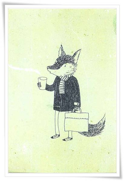fox with cofe