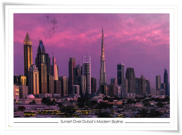sunset over dubai's modern