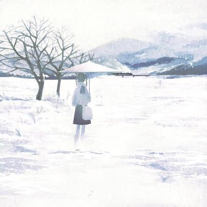 一個人在大雪中