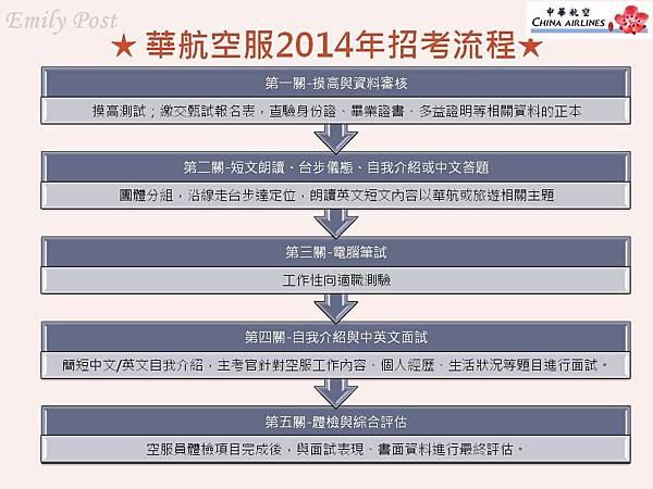 華航空服歷年招考流程2014年9月高派