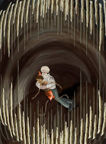 《木偶奇遇記》老木匠與皮諾丘逃出鯊魚的肚子