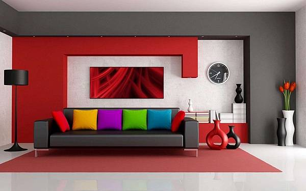 colorful-living-room-with-art-also-big-clock-on-wall-and-black-sofa-with-colorful-pillows-and-black-arc-floor-lamp.jpg
